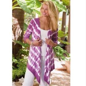 Soft Surroundings Purple Tie Dye Open Topper L